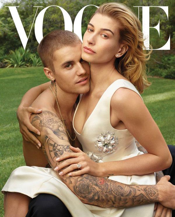 Justin và Hailey trên tạp chí Vogue tháng 3.