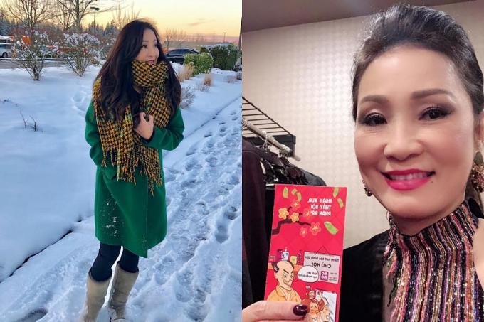 Dịp Tết hàng năm, hầu hết nghệ sĩ Việt tại hải ngoại tất bật với lịch diễn tại nhiều tiểu bang phục vụ bà con kiều bào. Ngày mùng 1Tết, nghệ sĩ Hồng Đào khoe ảnh chụp giữa không gian tràn ngập tuyết và còn được nghệ sĩ Chí Tài lì xìkhi đi diễn tại thành phố Seattle.