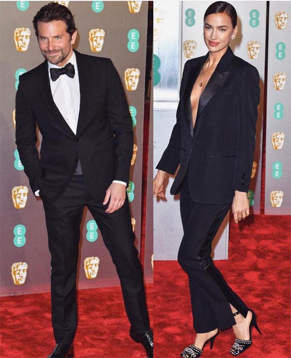 Irina Shayk cùng Bradley Cooper tới lễ trao giải của Viện hàn lâm điện ảnh Anh tại London tối 10/2. Cặp sao mặcvest đenlịch lãmton sur ton.