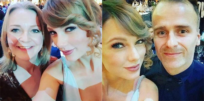 Taylor cũng hào hứng chụp ảnh với các nghệ sĩ tại buổi tiệc.