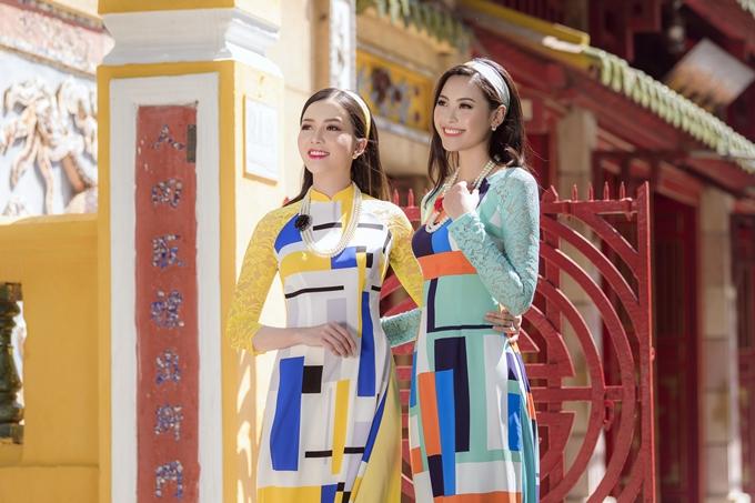Áo dài theo phong cách Cô ba Sài Gòn với họa tiết gạch bông tiếp tục là hot trend của mùa Tết năm nay.