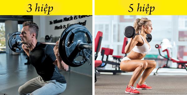 Nữ giới nên tập nhiều hiệp hơn và nghỉ giữa giờ ít hơn nam giớiVì thể trạng giữa nam và nữ khác nhau nên quy trình tập luyện cho hai giới cũng cần có sự khác biệt. Phụ nữ cần tập nhiều hiệp hơn cho một bài tập và thời gian nghỉ giữa các hiệp nên rút ngắn, chỉ từ 30 - 40 giây để đạt được hiệu quả tốt nhất.