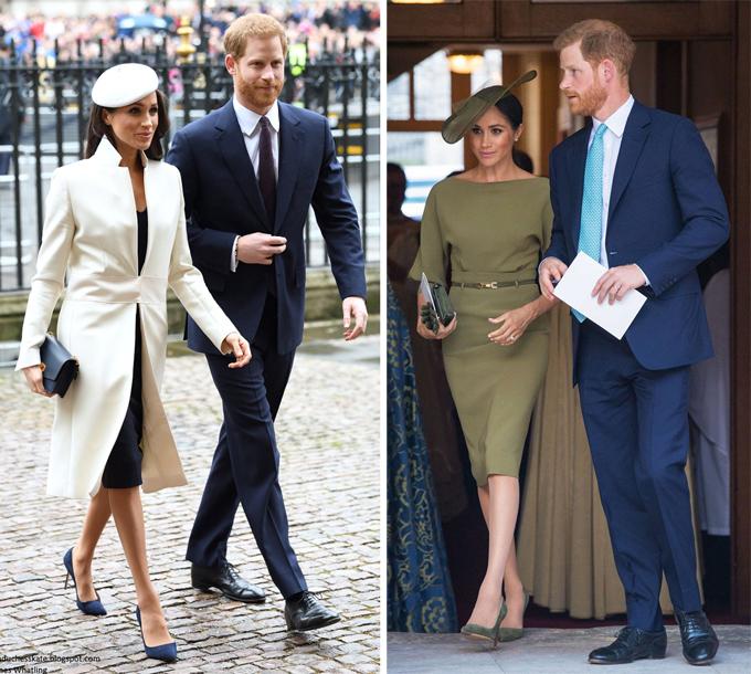 Vợ chồng Harry - Meghan tham dự sự kiện hồi tháng 3/2018 (trái) và lễ rửa tội của Hoàng tử Louis tháng 7/2018.