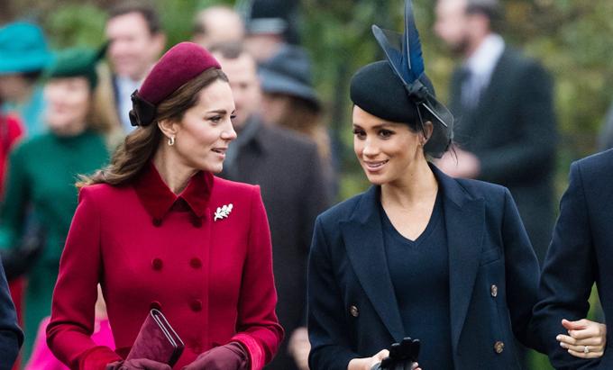 Kate và Meghan dự lễ nhà thờ ngày Giáng sinh năm 2018 ở Sandringham. Ảnh: UK Press.