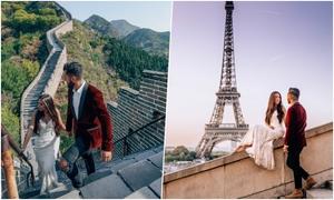 Cô gái mặc một chiếc váy cưới cùng chồng du lịch qua 33 quốc gia