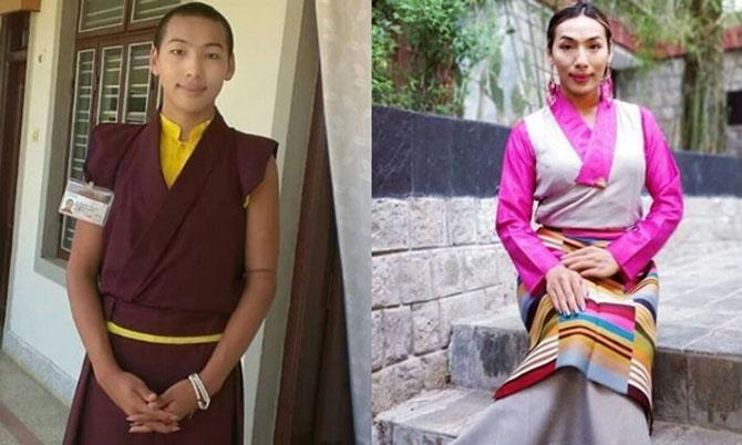 Tenzin Mariko khi còn là nhà sư (trái) và hiện tại khi đã là người chuyển giới (phải). Ảnh: Indiatimes.