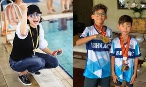 Con trai Hà Kiều Anh mang huy chương bơi lội về tặng mẹ