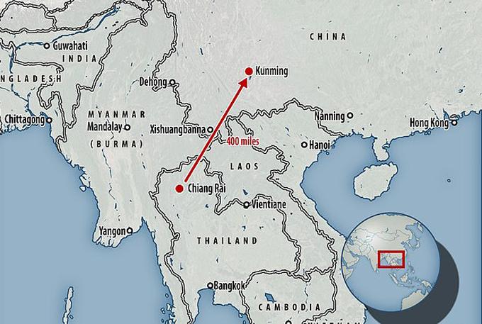 Khoảng cách từ Chiang Rai, Thái Lan, sang Côn Minh, Trung Quốc, là 400 dặm, tương đương 640 km. Ảnh: Mail.