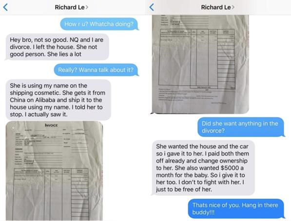 Tin nhắn được cho là của bác sĩ Richard Lê với người bạn tố cáo về Ngọc Quyên.