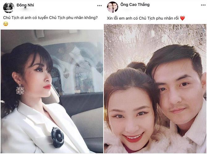 Đông Nhi và Ông Cao Thăng đăng status thả thính nhau trên Facebook.