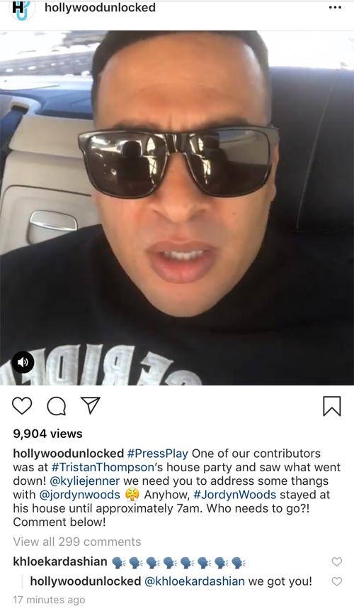 Khloe Kardashian phản ứng trước thông tin bạn trai dan díu với người mẫu Jordyn Woods.