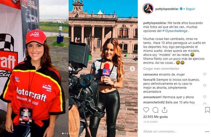 Patty Lopez đăng ảnh 10 năm trước và hiện tại theo trào lưu #10yearchallenge trên Instagram.