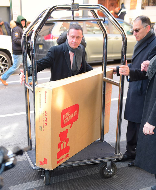 As well as the flowers, staff at the hotel were also seen wheeling in a large box housing a $379 travel crib, which may well have been a gift for the duchess, or a prop for the party