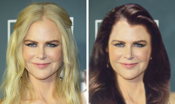 Nicole Kidman để lộ khuôn mặt nhiều nếp nhăn với mái tóc tối màu.