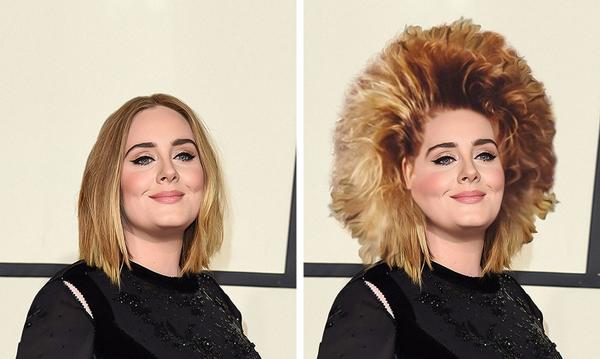 Adele trông như đội cả chiếc bờm sư tử lên đầu.