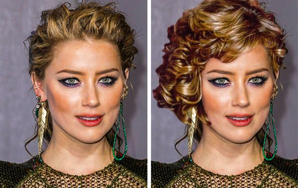 Khuôn mặt xinh đẹp của Amber Heard cũng kém sắc đi rất nhiều vì mái tóc bờm xờm.