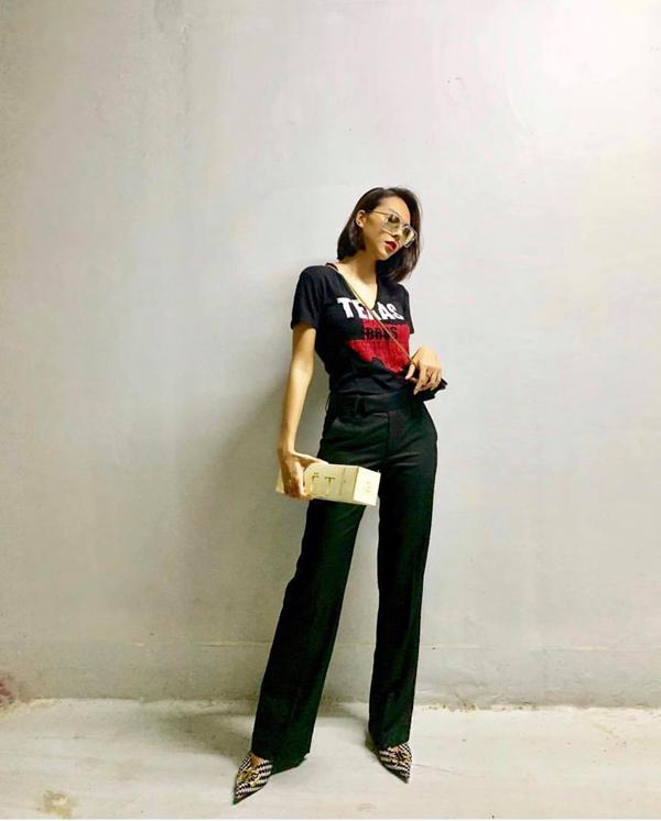 Quần suông ống đứng, áo thun, giày cao gót của Minh Triệu luôn mang lại kết quả đáng mong đợi cho phái đẹp khi muốn tôn chiều cao.