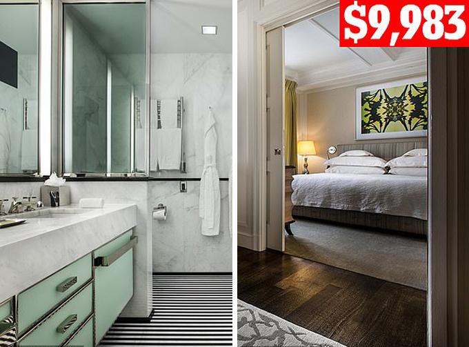 Phòng ngủ của Meghan tại khách sạn năm sao cao cấp ở trung tâm New York với giá gần 10.000 USD/5 đêm.