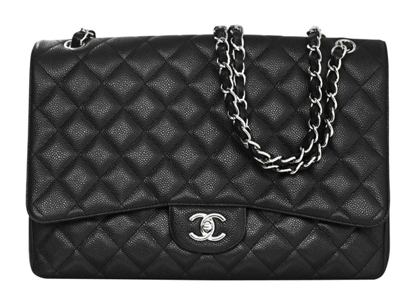 Chanel Black Quilted Caviar Jumbo Classic Double Flap Bag, Retail Price: $6,000 + tax