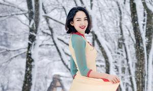 Ngọc Diễm diện áo dài chụp ảnh dưới trời tuyết -5 độ ở Nhật