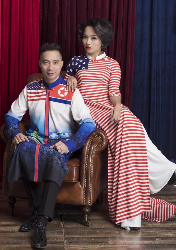 [Caption] Trong không khí rộn ràng của Hội nghị Thượng đỉnh Mỹ- Triều sẽ được tổ chức tại Hà Nội, người in áo, người cắt tóc, quán bar decor cờ, vv...Thái Thuỳ Linh bất ngờ xuất hiện với bộ sưu tập áo dài duyên dáng, độc đáo rất Mỹ và rất Triều Tiên.  Nhà thiết kế Đỗ Trịnh Hoài Nam đã tinh tế lồng ghép những hình ảnh đặc trưng của hai đất nước Mỹ, Triều vào những tà áo của Việt Nam, ngời ngời hình ảnh nước bạn trên quốc phục Việt Nam. Sự kết hợp kì diệu, dường như thay lời muốn nói, Việt Nam là điểm đến tuyệt vời cho sự kiện Hội nghị Thượng đỉnh Mỹ, Triều Tiên. Và Thái Thuỳ Linh đã thể hiện hình ảnh những tà áo dài đó thật đẹp, hội đủ các yếu tố, dịu dàng nữ tính nhưng vẫn có cái riêng của mình.
