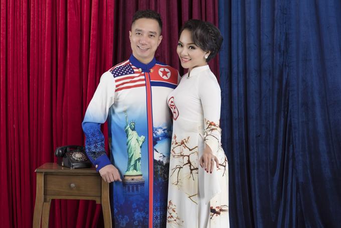 Thái Thùy Linh còn thể hiện một số trang phục mang họa tiết đặc trưng của Việt Nam như phong cảnh Hồ Gươm Hà Nội, hình cờ đỏ sao vàng...