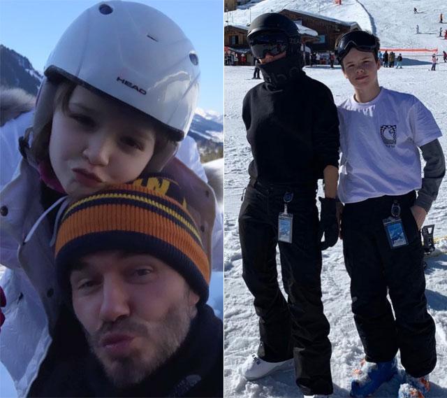 Becks nhí nhảnh bên con gái Harper trong khi Vic mặc như ninja khi chụp ảnh với cậu út Cruz.