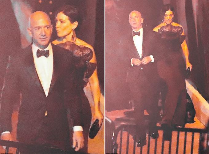 Ông chủ Amazon Jeff Bezos đến tiệc Oscar tối 24/2 với một phụ nữ lạ. Ảnh: Backgrid.