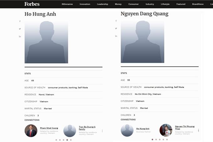 Hồ sơ về hai doanh nhân Việt Nam đươc Forbes cập nhật. Ảnh: Forbes.