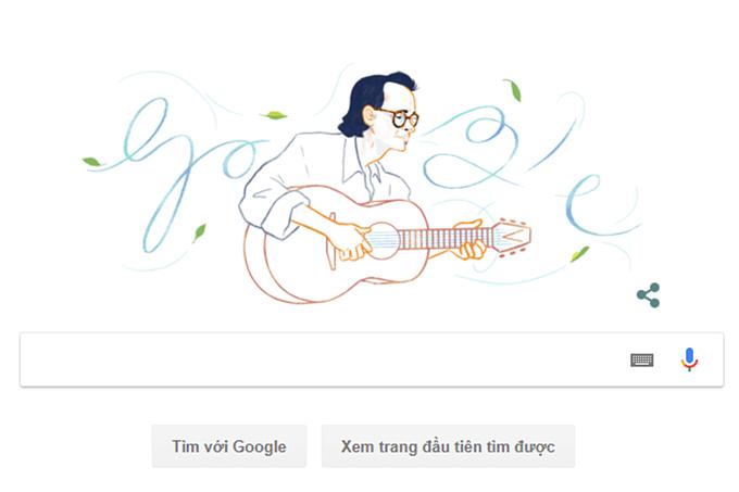 Google Doodles vinh danh cố nhạc sĩ Trịnh Công Sơn.