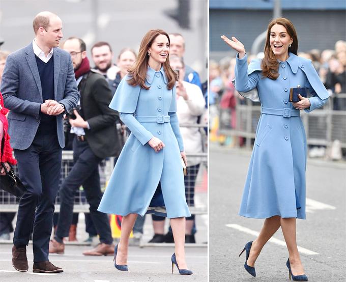 Vợ chồng William - Kate gặp gỡ người hâm mộ trước cửa trung tâm nghệ thuật Braid ở Ballymena, Bắc Ireland hôm 28/2. Ảnh: AP.