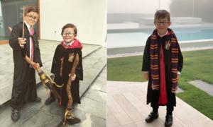 Con trai Messi và Suarez hóa trang thành Harry Potter