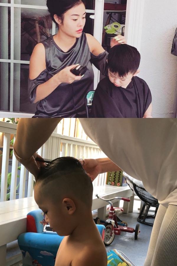 Julia tự tay cắt tóc cho con trai.