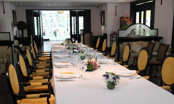 Bàn ăn phục vụ bữa trưa đàm phán giữa Donald Trump và Kim Jong-un ngày 28/2 - ngày thứ hai của Thượng đỉnh Mỹ - Triều, trong khách sạn Metropole, Hà Nội. Ảnh: Reuters