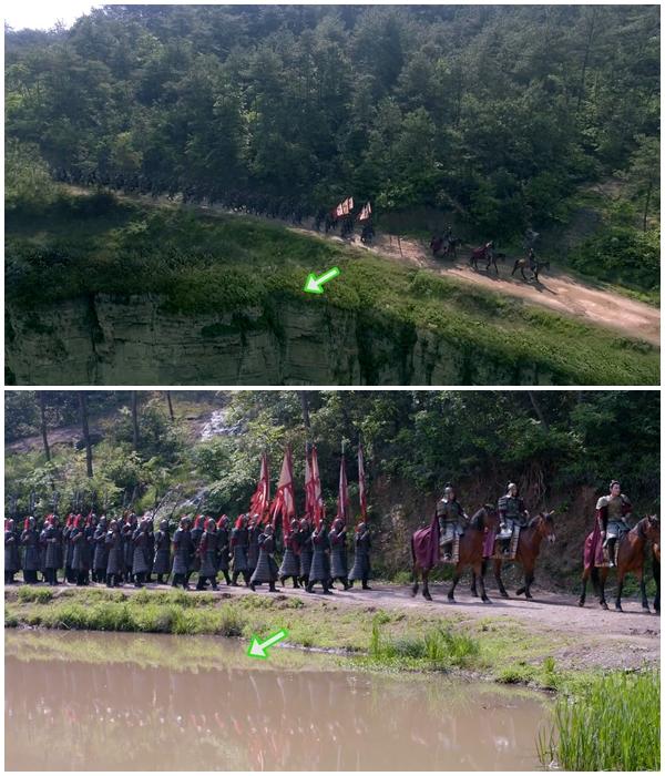 Đây là một cảnh miêu tả cảnh hành quân của binh linh. Trong chớp mắt, đoàn quân đang từ trên vách núi cao chuyển xuống sát bờ sông.