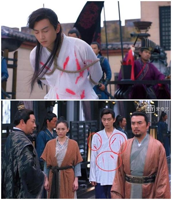 Các vết máu trên áo của Dương Kiên thay đổi giữa hai cảnh nối tiếp.