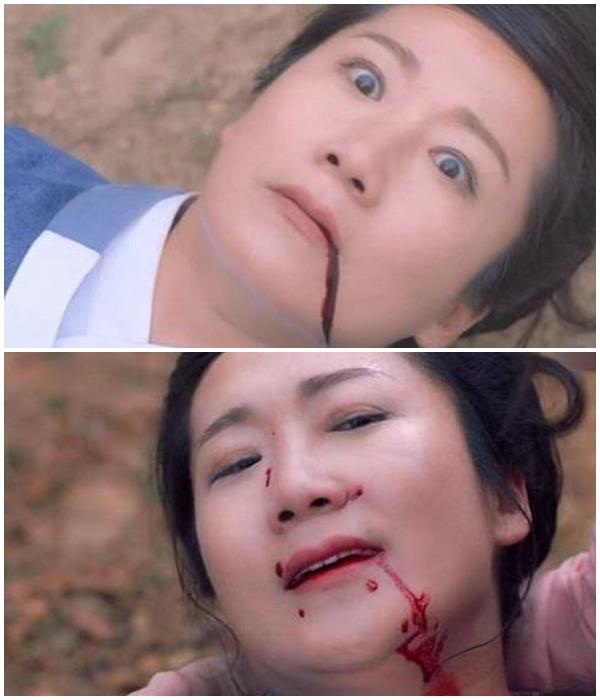 Máu trào từ miệng của nhân vật nữ này bất chợt đổi màu và bắn lên mũi một cách khó hiểu.