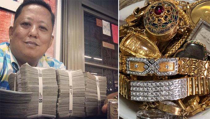 Chủ vựa buôn sầu riêng Thái Lan Anon Rodthong (59 tuổi) khoe tiền mặt và trang sức quý báu khi kén rể. Ảnh: Facebook.