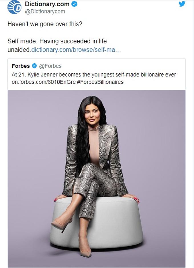 Từ điển đá đểu danh xưng tỷ phú tự thân của Kylie Jenner