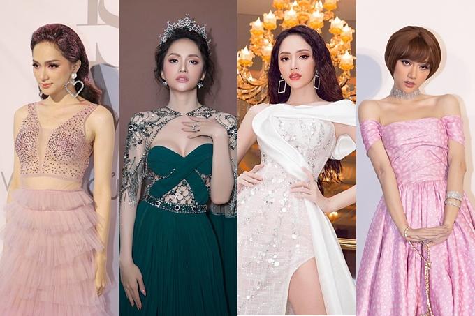 Hương Giang đầu tư váy áo lộng lẫy, biến hóa nhiều phong cách mỗi lần xuất hiện trước công chúng.