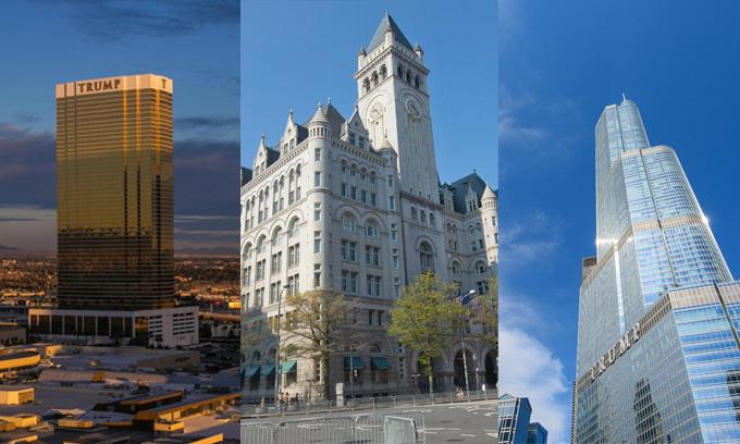 Hệ thống khách sạn quốc tế của Trump tại Las Vegas, Washington DC, Chicago tăng hoặc giảm giá nhẹ vài triệu USD, bù trừ cho nhau. Ngoài ra, tổng thống Mỹ sở hữu khu chế biến rượu vang ở Virginia và đất chưa xây dựng ở California.