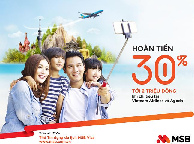 Khách hàng có cơ hội được hoàn trả một triệu đồng mỗi tháng khi thanh toán dịch vụ du lịch qua MSB.