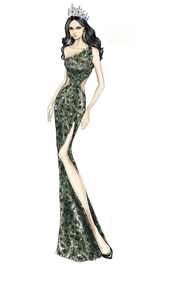 Linh San cho biết: Chiếc váy này may từ chất liệu lưới được đính kết từng hạt đá cao cấp tỉ mỉ, sắp xếp theo hình dáng của những chiếc lông công vươn giả. 9 người thợ lành nghề nhất của tôiđã làm việc ngày đêm mới hoàn thành nó