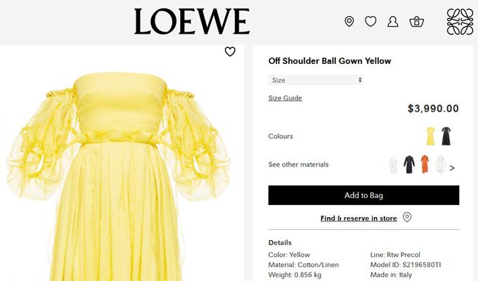 Thiết kế màu vàng rực rỡ là sản phẩm từ thương hiệu cao cấp Loewe, sản xuất tại Italy, có giá 3.990 USD (93 triệu đồng).
