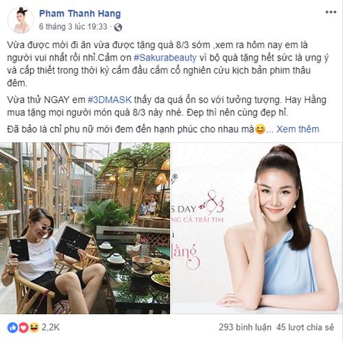 Thanh Hằng chia sẻ niềm vui cùng fan khinhận quà từ nhãn hàng Sakura.Chia sẻ của siêu mẫuthu hút hơn 2,2 nghìn lượt yêu thích trên mạng xã hội.
