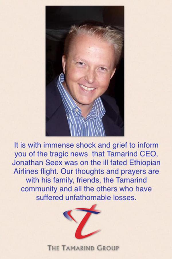 Thông báo của Tamatind Group về cái chết thương tâm của CEO Jonathan Seex. Ảnh: Nation.