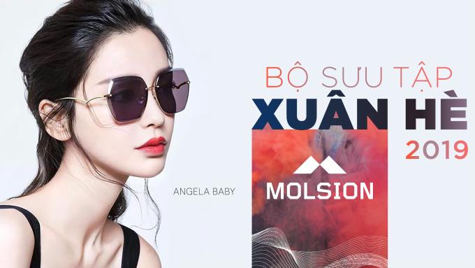 Angela Baby làm đại diện hình ảnh cho bộ sưu tập kính mắt mùa hè mới của Molsion. Các thiết kế kính mắt bản lớn phá cách, tạo cá tính cho người đeo.
