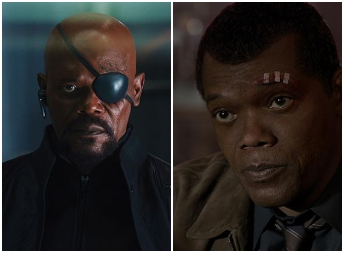 Nick Fury phiên bản quen thuộc (trái) và phiên bản trẻ hóa trong Captain Marvel (phải).