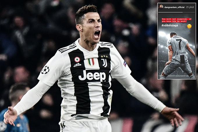 Đặng Văn Lâm viết lời khen C. Ronaldo trên Instagram sáng 13/3.