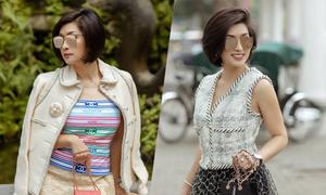 Nguyễn Hồng Nhung phối hàng hiệu dạo phố